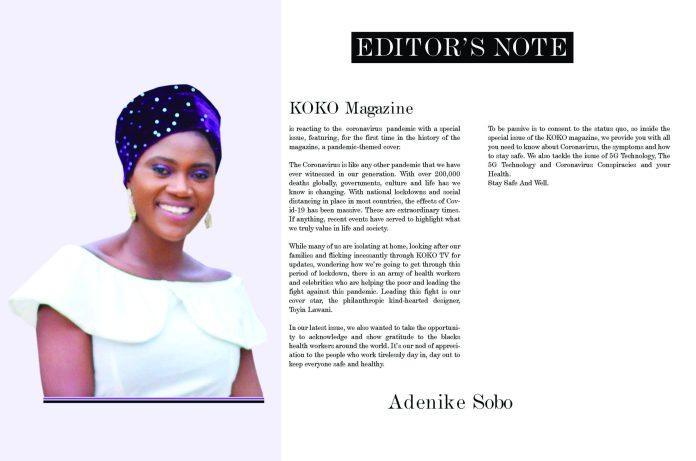Toyin Lawani Is The Cover Star Of The KOKO Magazine Special Coronavirus Issue