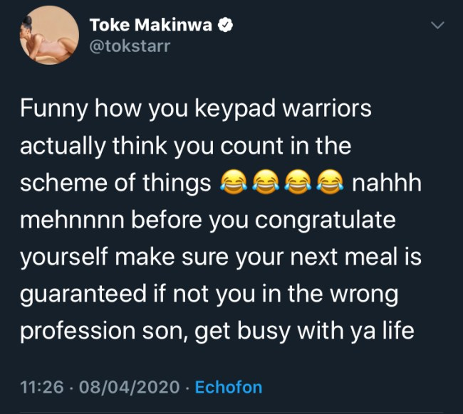 Be Ready for What Comes After - Toke Makinwa Tells Trolls