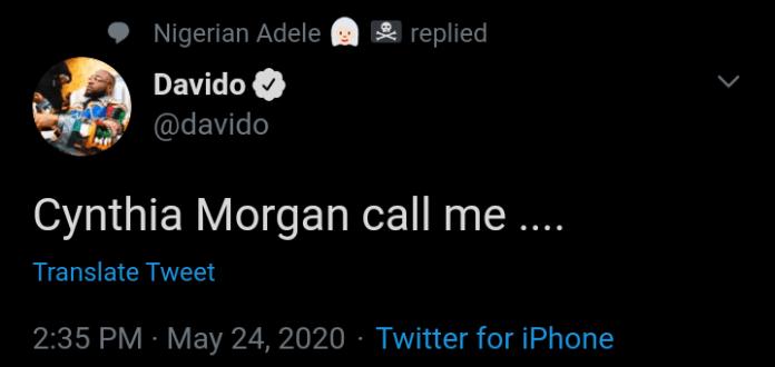 See The Reason Davido Wants To Help Cynthia Morgan