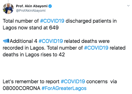Lagos Records 4 More COVID-19 Deaths, Totals 42