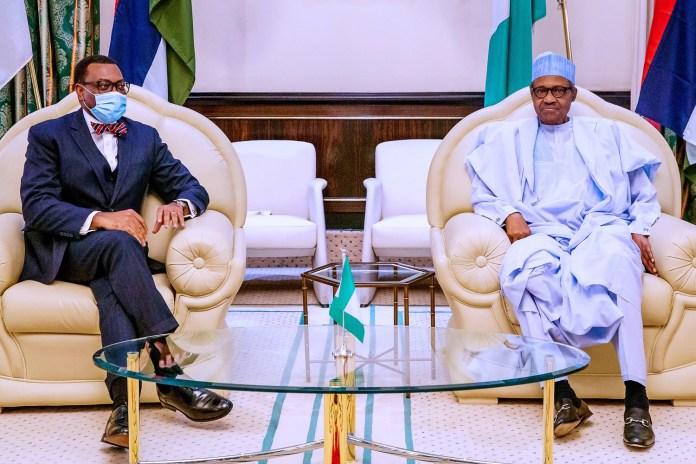 Akinwunmi Adesina and President Muhammadu Buhari