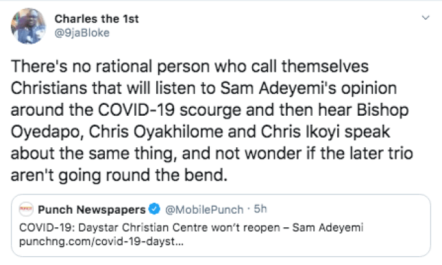 Nigerians React As Sam Adeyemi Says His Church Will Not Open Come Sunday