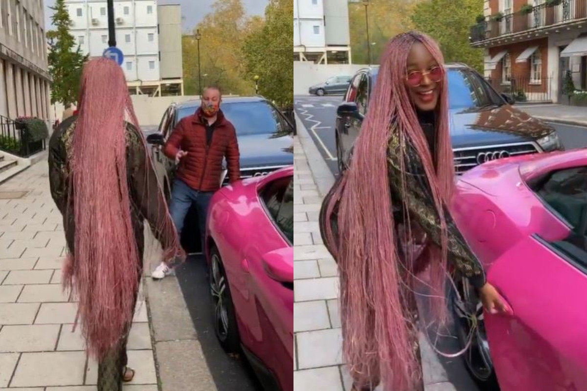 See Moment DJ Cuppy Caught A White Man Trying To Take A Pic With Her Ferrari