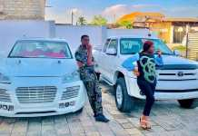 Adedimeji Lateef and Adebimpe Oyebade show off their new whips