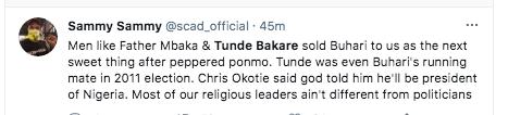 Tweeps drag clergies Tunde Bakare and Father Mbaka KOKO TV Nigeria 3