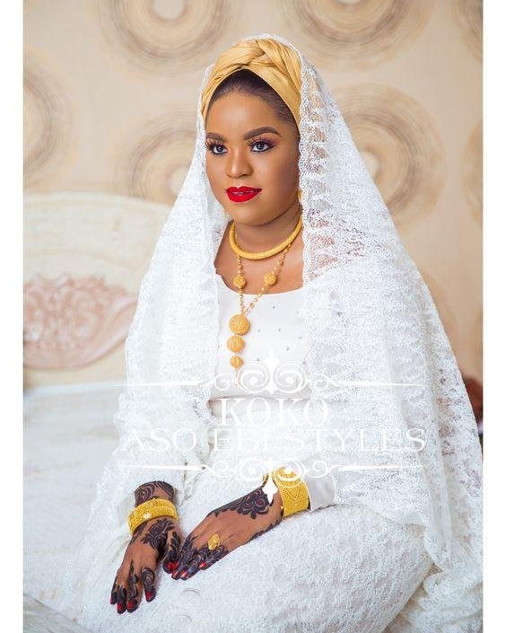 White Lace Aso Ebi Styles For The Muslim Bride