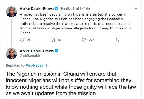 No Innocent Nigerian Will Suffer - Abike Dabiri Reacts To Ghana's Mass Arrest