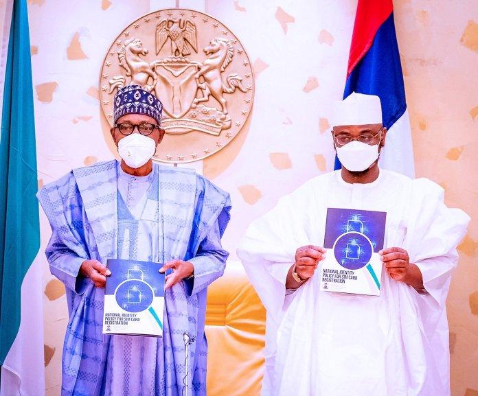 Buhari and Pantami at the National Digital Identity Policy for SIM Card Registration Launch