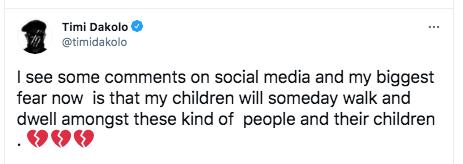 Timi Dakolo fears for his children