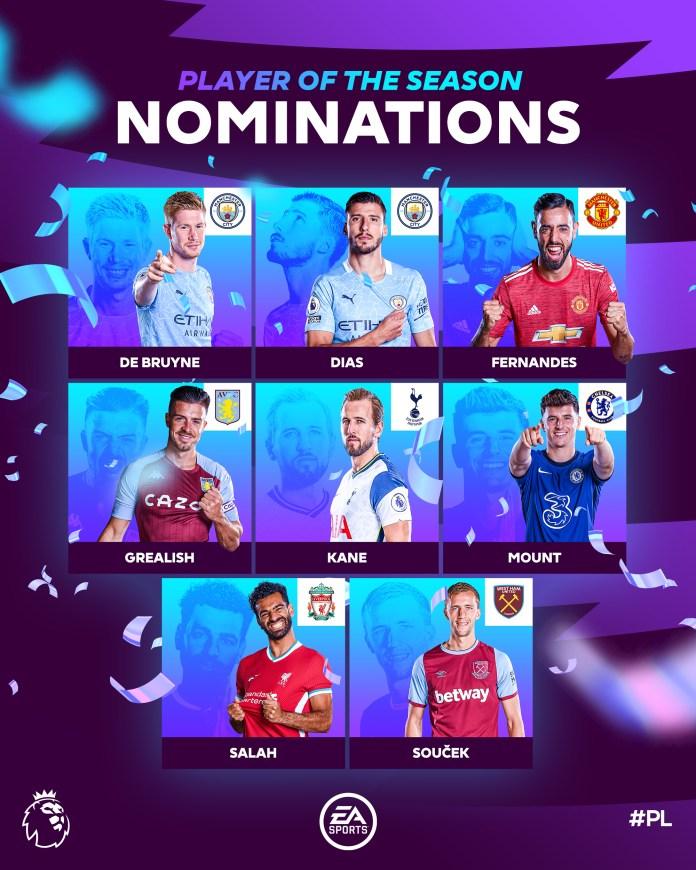 Epl Player Of The Season Nominee Ruben Dias, Bruno Fernandes, Soucek,