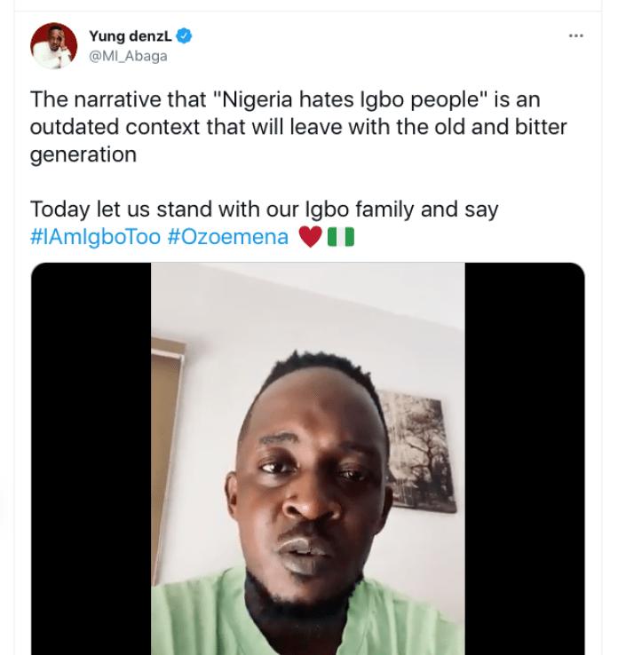 #ImIgboToo: M.I Abaga Calls For Solidarity For Igbos