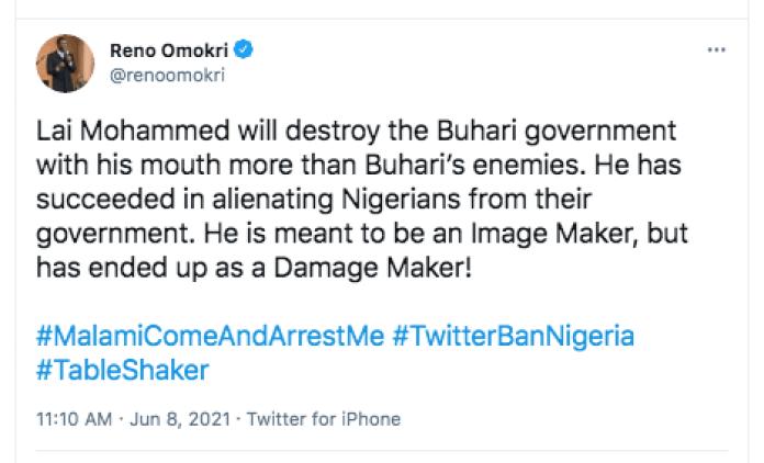 Lai Mohammed Will Destroy Buhari's Administration More Than His Enemies - Reno Omokri