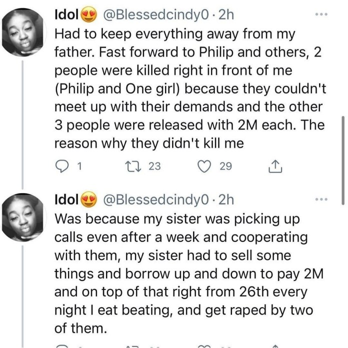 """""""They Beat Me, 2 Of Them Raped Me Daily"""", Kidnap Victim Shares Horrible Experience"""