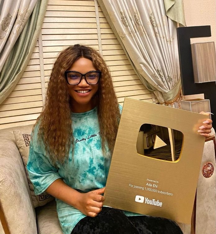 Ada Ehi Receives YouTube Plaque As She Hits 1m Subscribers