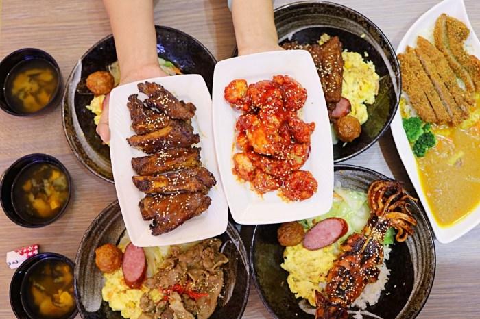 台中嶺東學生推薦超人氣美食「傳奇烤肉飯」!百元有找烤肉飯必點,碳烤豬肋排、深海烤中卷、鐵路排骨飯都推薦,熱湯飲料免費喝到飽。