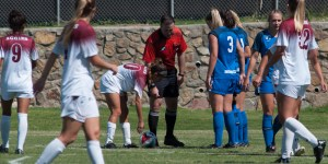 Aggie senior Aileen Galicia sets up for a free kick during the New Mexico State home loss to Boise State on Sunday, Sept. 9, 2018, at the NMSU Soccer Athletic Complex. (Photo by Eric Burnside/Kokopelli)