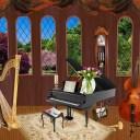 ハープ ピアノ コントラバスの可愛いイラストの画像
