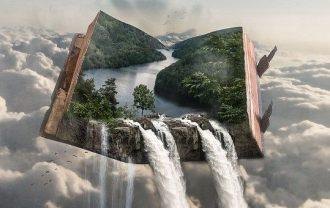雲海に浮かぶ本の画像