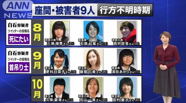 【座間殺人事件】白石隆浩容疑者の被害者の身元まとめ【顔写真・名前】