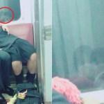 @etvpGjOrPwoqFQB「電車でイチャつくバカップルうざー晒したろ」←窓の反射で別のカップル写ってるけど本人?