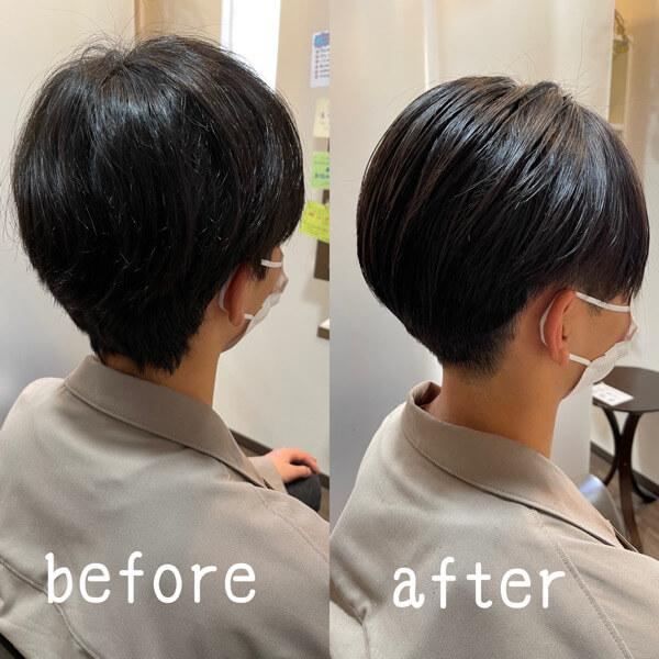 國分オリジナル髪質改善酸性縮毛矯正で初めてのセンターパートに【箕面 大阪】