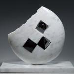 38×42×16cm 白大理, 黒大理石