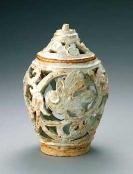 濱田庄司 白釉透彫香炉 (京都時代)