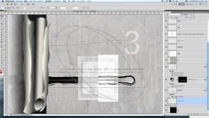 「突起部」の裏側に銅版画イメージの右半分を貼ろうとして「突起部レイヤー」の下に新規レイヤーを置いてみたが