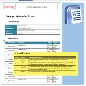 Onomy Proje Set 2 - Proje Gereksinimler Listesi