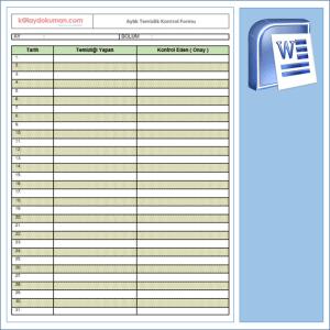 ISO 22000 - Aylık Temizlik Kontrol Formu