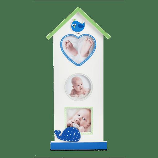 Babyworld er en sød collageramme i træ formet som et lille højhus med dyredekorationer - perfekt til barselsgave, barnedåb, fødselsdagsgave eller babyshower (GB10323 / GB10332)  Koldsø Fotografi Webshop