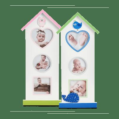 Babyworld er en sød collageramme i træ formet som et lille højhus med dyredekorationer - perfekt til barselsgave, barnedåb, fødselsdagsgave eller babyshower (GB10323 / GB10332)| Koldsø Fotografi Webshop