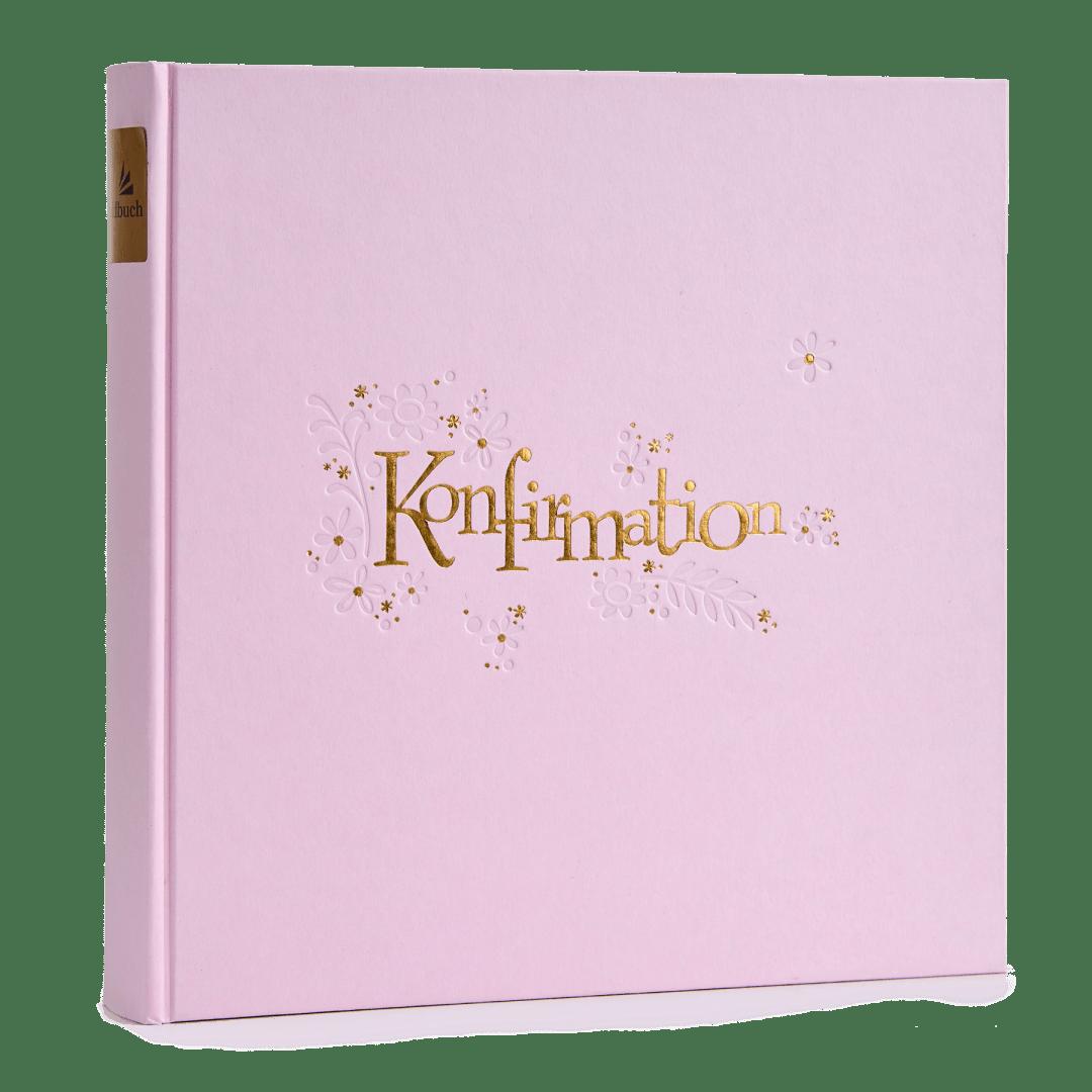 "Fint konfirmationsalbum i lys pink papir omslag med ""Konfirmation"" påtrykt med sølvtryk (GB03033) | Koldsø Fotografi Webshop"