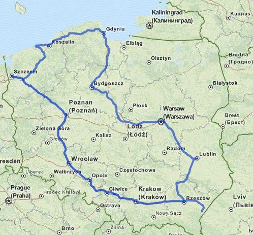 """Mapa podróży z """"Biletem Podróżnika"""""""