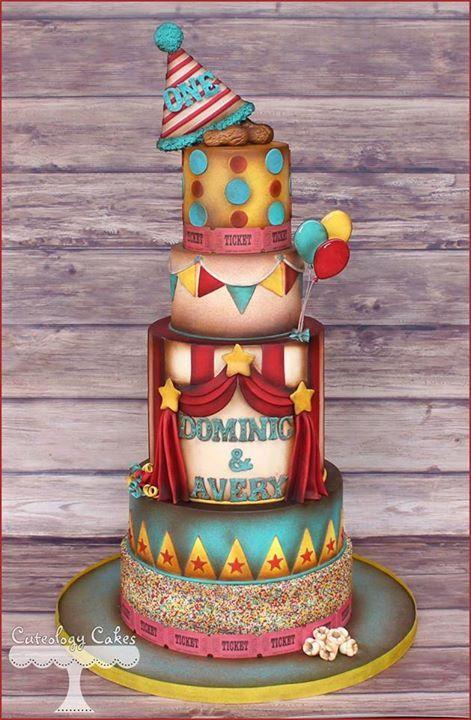 wedding cake, wedding themed cake, circus cake, carnival wedding cake