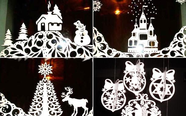 Шаблони новорічних витинанок, зимові трафарети для вирізання на вікна (завантажити і роздрукувати)