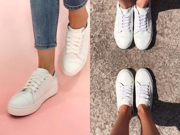 базовые беллые кроссовки