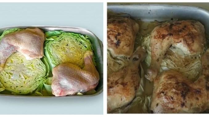 Ароматна курочка з рум'яною скоринкою з капустою в духовці — 45 хвилин і стегенця з гарніром готові!