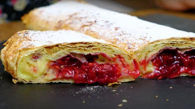 смачний ледачий пиріг з вишнею та заварним кремом — це дуже смачне поєднання