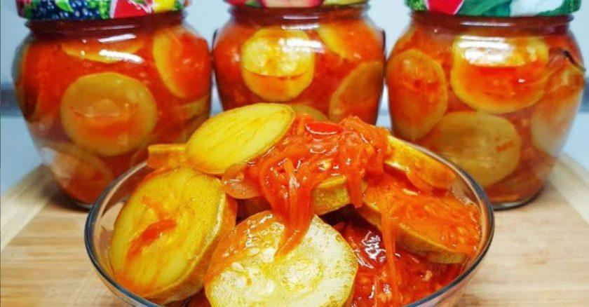 Салат з кабачків на зиму з томатом і корейською морквою. Дуже смачний рецепт!