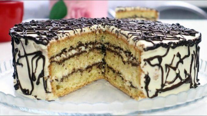 """Торт """"Ніжність"""". Незрівнянний домашній бісквіт! Сметанний крем + шоколад. Дуже смачний і ніжний тортик до чаю"""