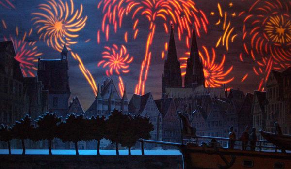 Feuerwerk im Papiertheater