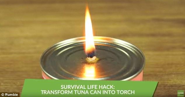 صنع شعلة من علبة التونا 2