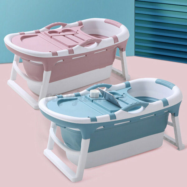 Folding Bathtub Portable Bathroom Capacity Soaking Tub PVC SPA Massage Barrel
