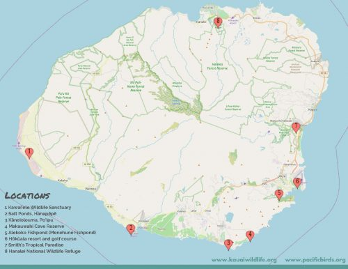 Map of where Kauai's wildlife refuges are located in Kaua'i. Made by Pacific Birds Habitat Joint Venture.