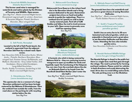 Summary of wildlife refuges in Kaua'i that house endemic waterbirds. Made by Pacific Birds Habitat Joint Venture.