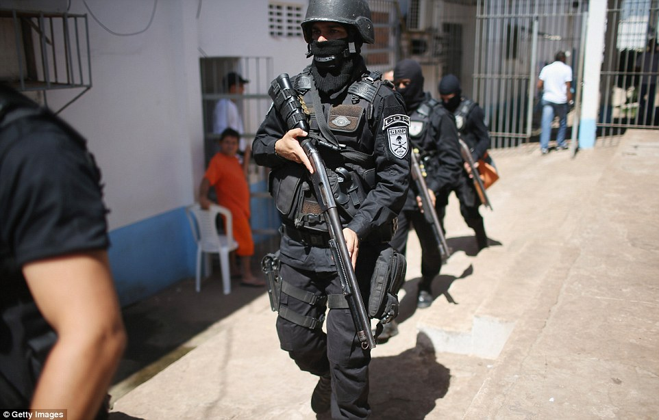 Military police are forced to patrol the sprawling prison complex, ready with pump-action shotguns, semi-automatic handguns and gas