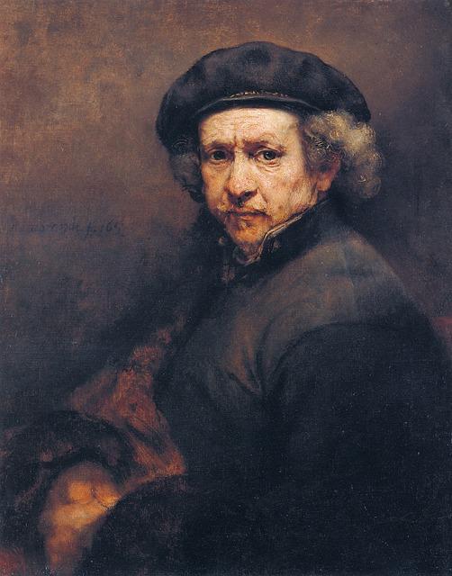 レンブラント作 「自画像」の油彩画の画像