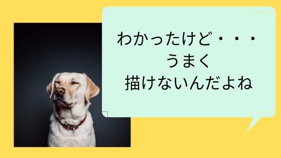 わかったけどうまく描けないんだよねの文字と犬の画像