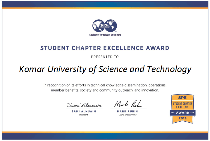 KUST Student Chapter has been awarded the Student Chapter Excellence Award for 2019